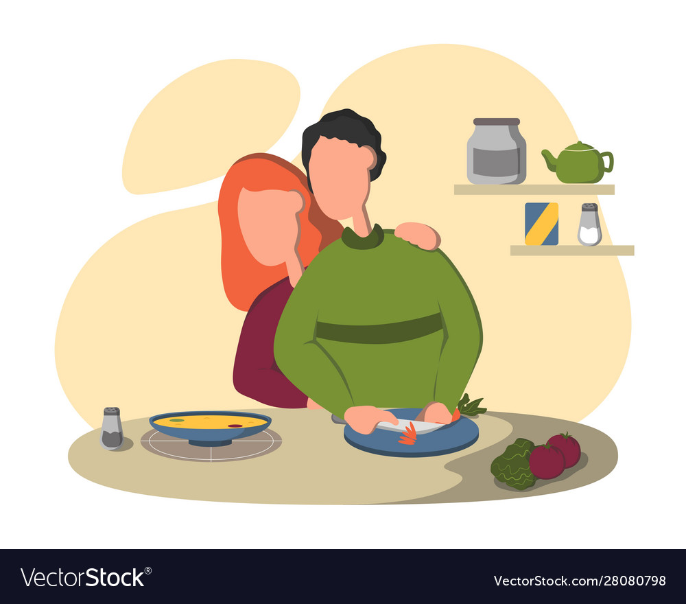 Young loving couple cooking together on kitchen.