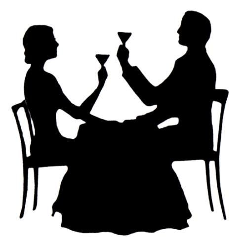 Couple Dining Silhouette unmounted rubber stamp, Paris.