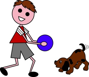 Boy And Dog Clipart Image.