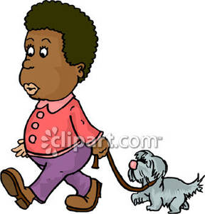 Young Black Girl Walking Her Dog.