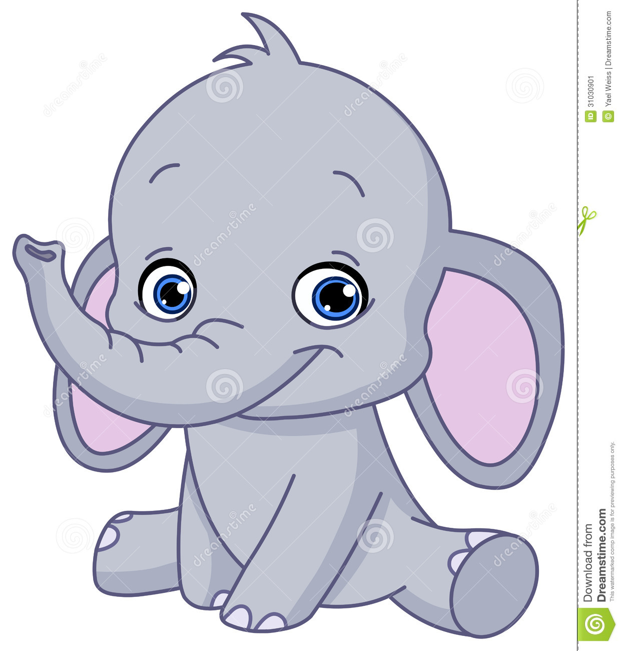 Baby elephant clipart sitting.