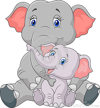 Cartoon Mother And Baby Elephant Stock Vector.