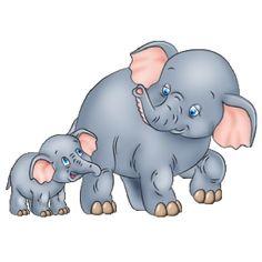 Cute Cartoon Elephants.