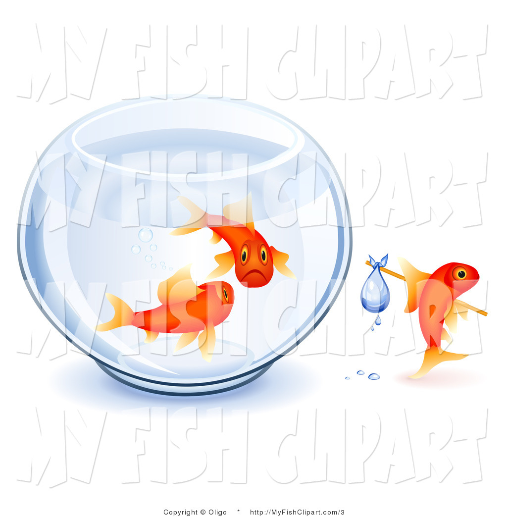 Vector Clip Art of a Sad Goldfish Parents Watching Their Young One.