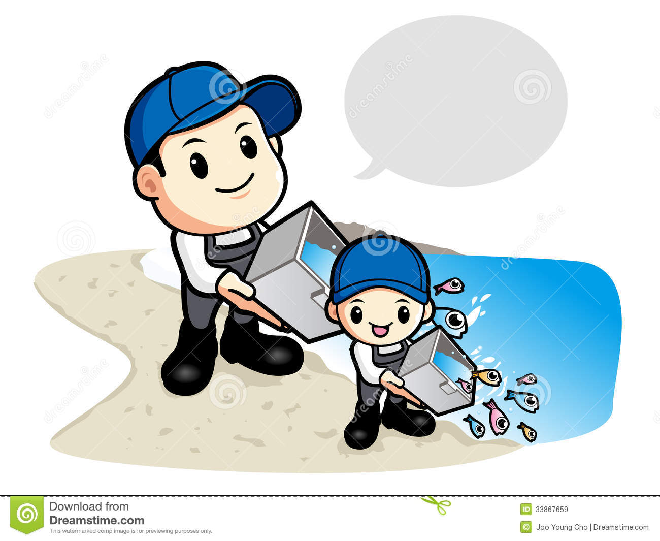 Release Young Fish To Father Son Stock Illustrations.