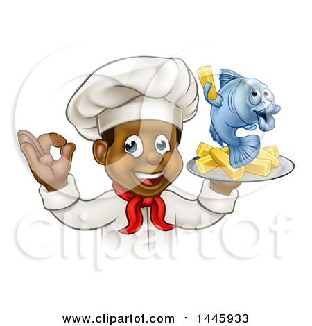Clipart of a Cartoon Happy Young Black Male Chef Holding a Fish.