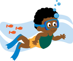 Clip Art Swimming With Fish.