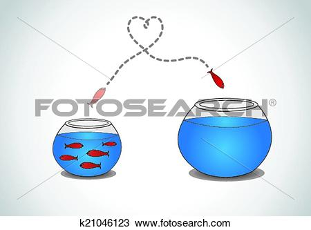 Clipart of alert young fish escape from crowd k21046123.