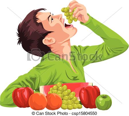 Clipart Vector of Vector of young boy eating fruit..
