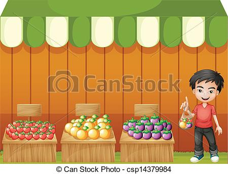 EPS Vectors of A young boy selling fruits.