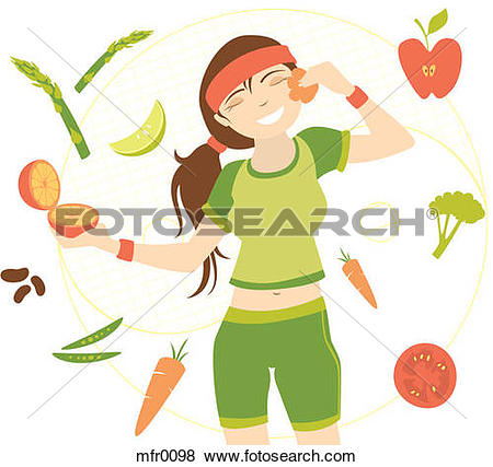 Stock Illustration of A young woman in workout gear surrounded by.
