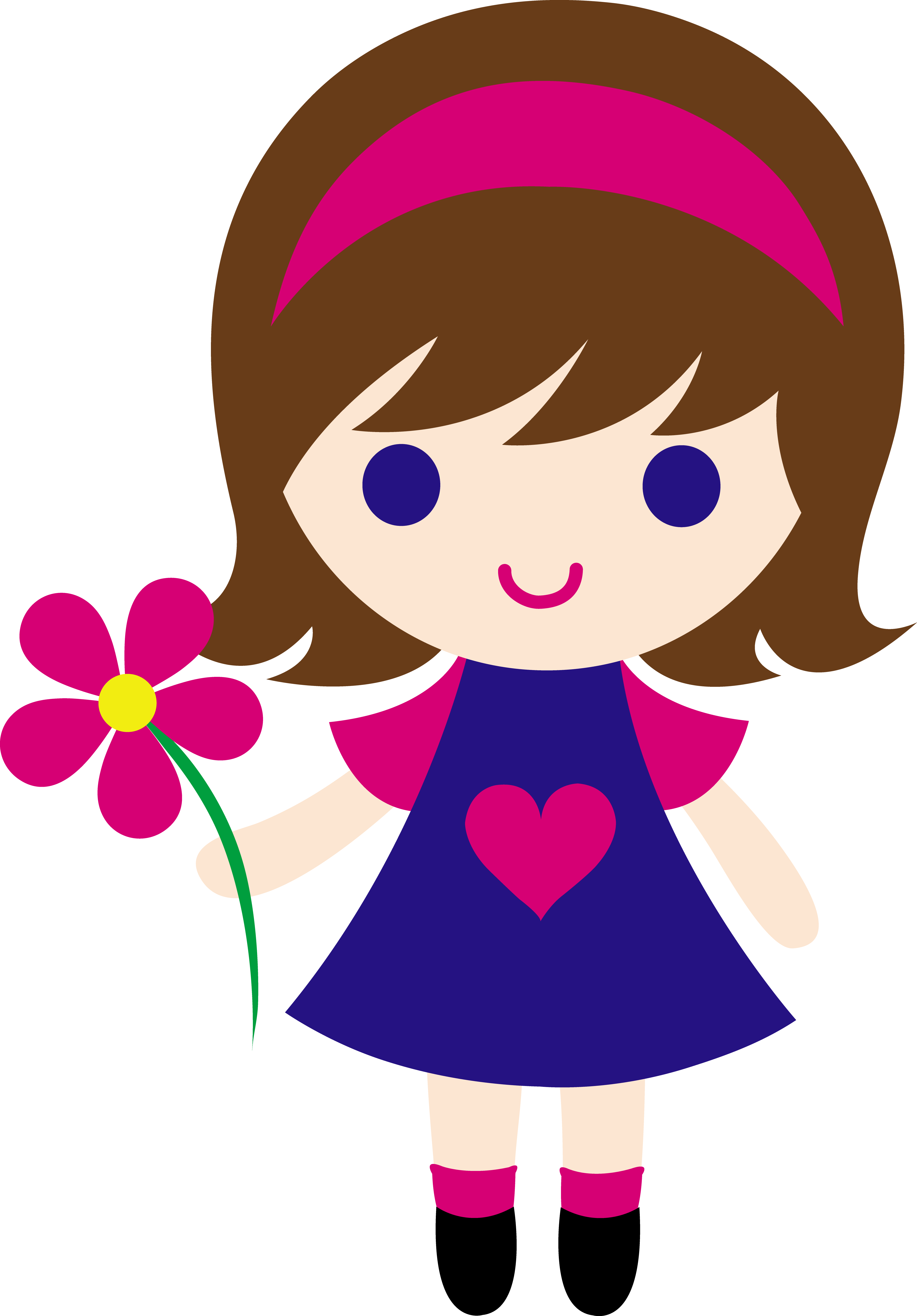 My clip art of a little girl holding a pink daisy..