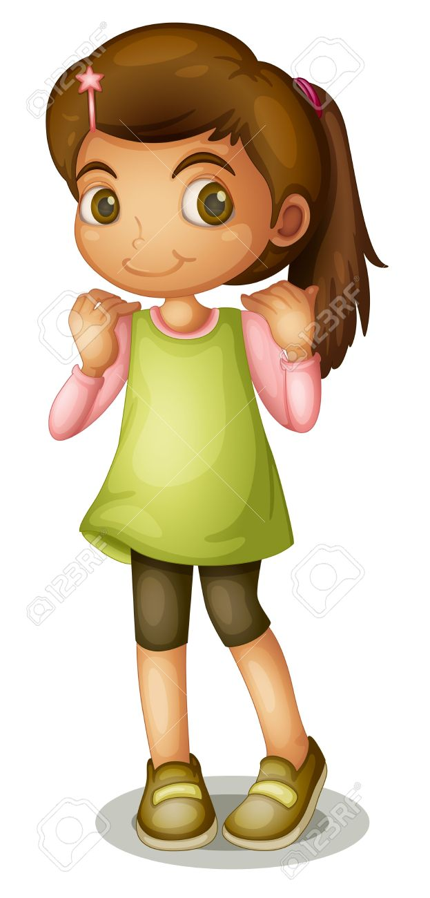 Illustration Of A Pretty Young Girl On White Stock Photo, Picture.