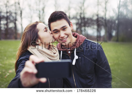 Rear View Teenage Couple Walking Park Stock Photo 176323958.