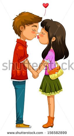 Young Girl Kissing Old Man Clipart.