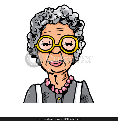 Cartoon of an old lady with glasses stock vector.