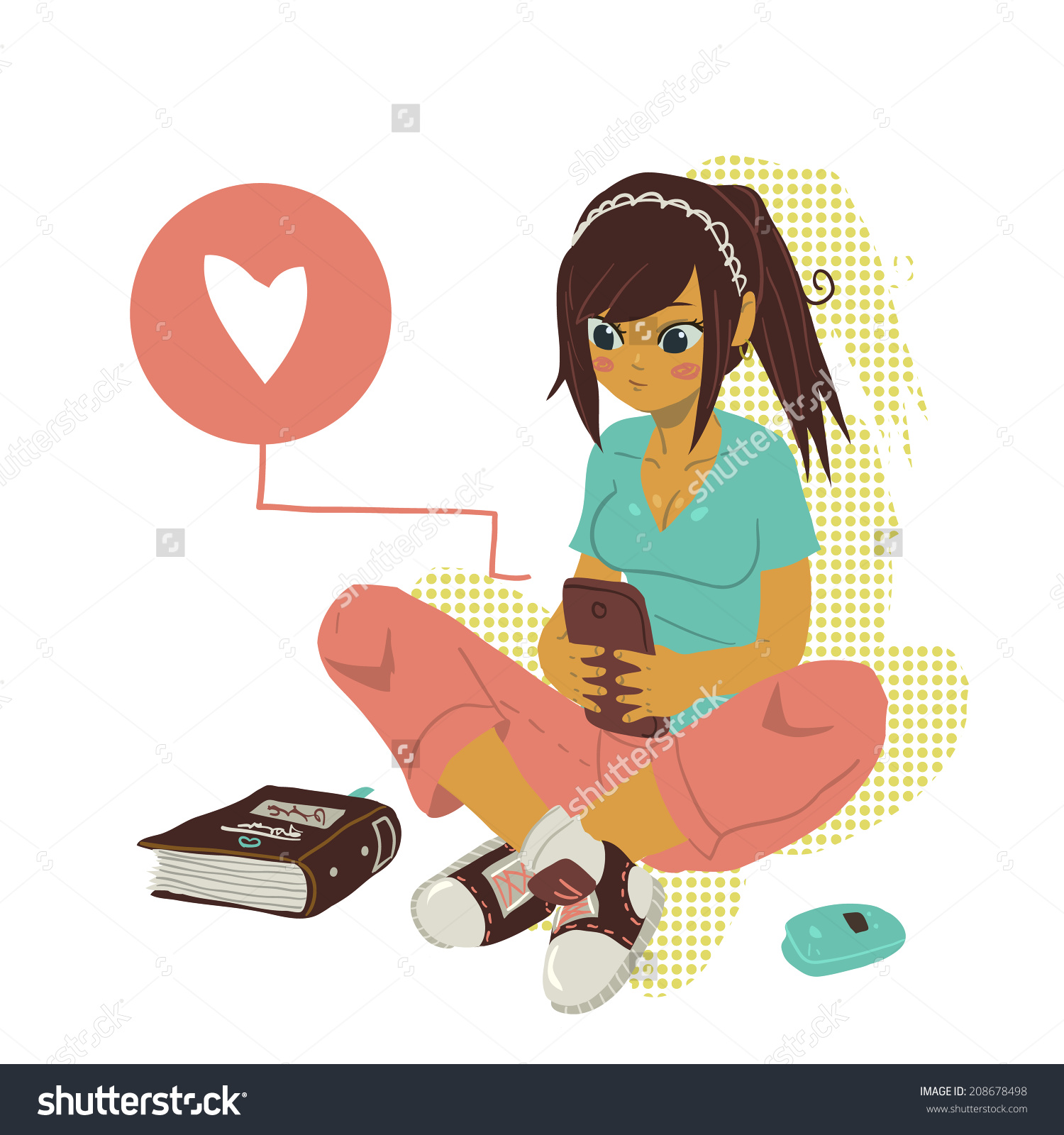 Showing post & media for Girl texting cartoon.