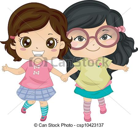 Little Girl Pulled In Two Directions Clipart.