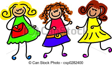 Girl With Friends Clipart.
