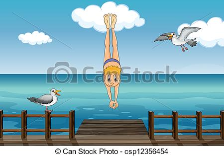 Clipart Vector of A young gentleman diving.