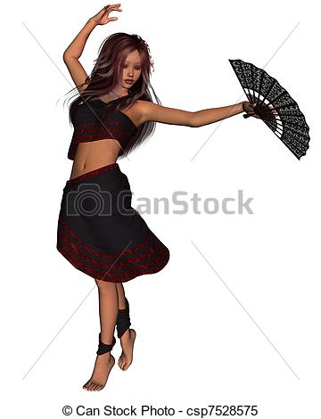 Young Gypsy Girl Clipart.