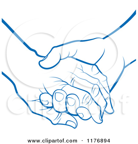 Clipart of a Blue Young Hand Holding a Senior Hand.