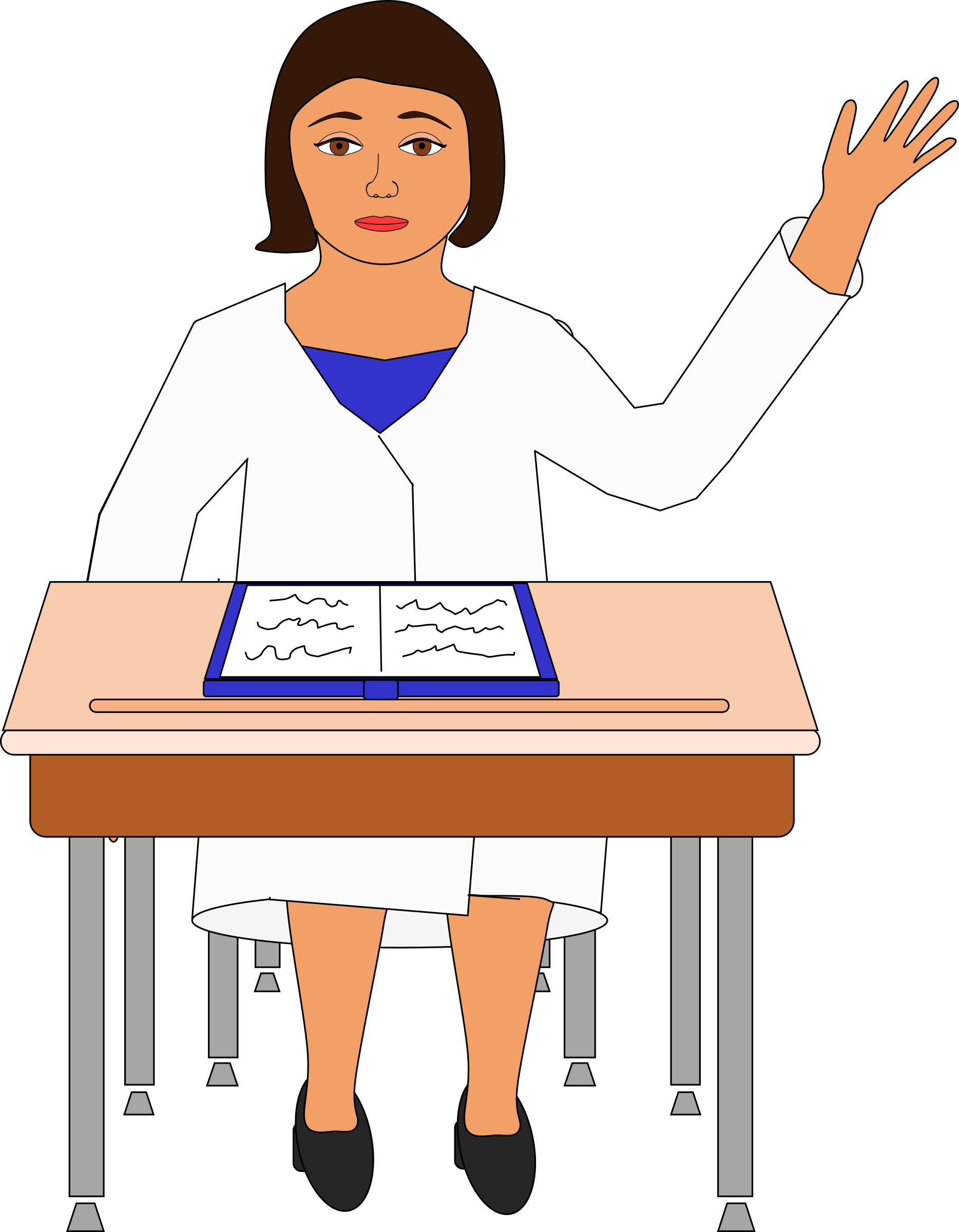Young girl raising hand in class clipart school.