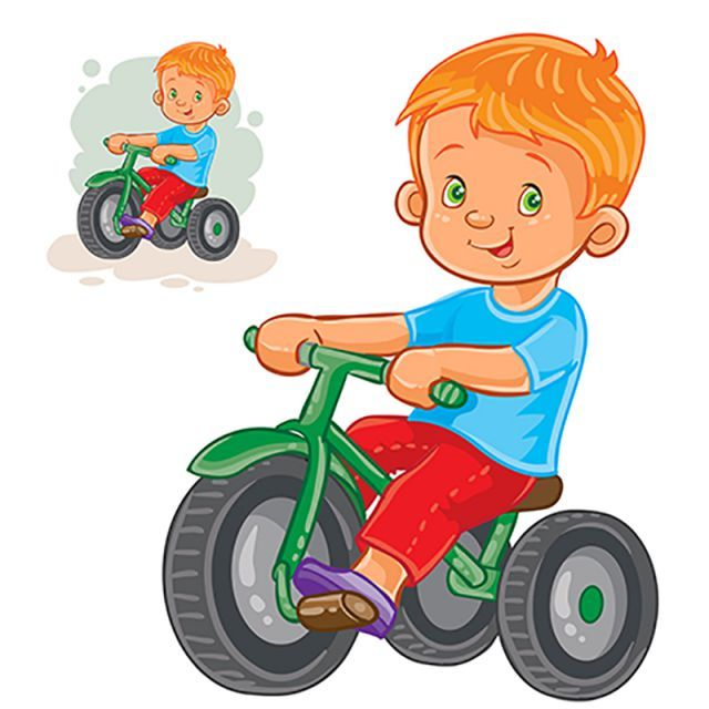 Vector Illustration Of Small Boy Ride Tricycle, Baby, Boy.