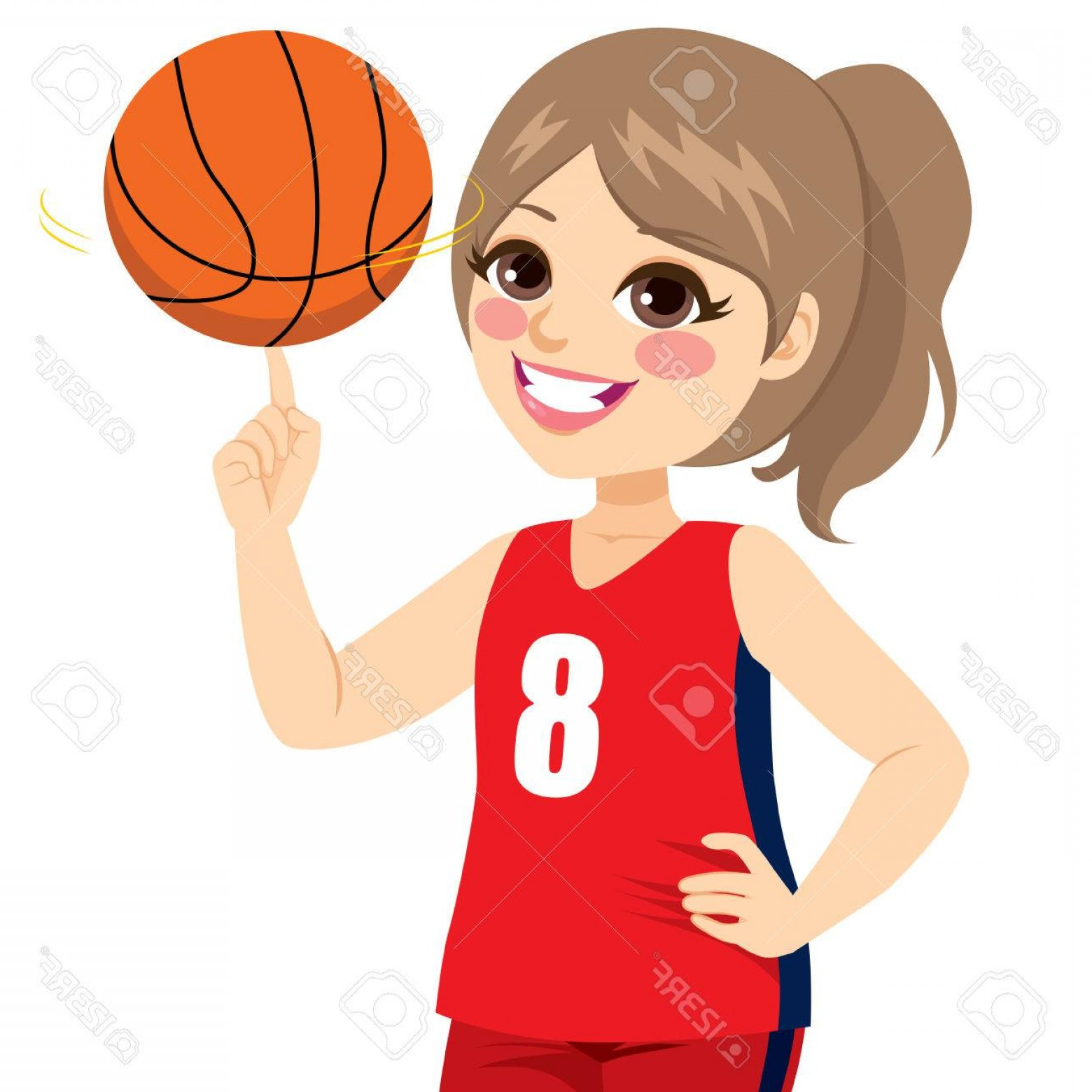 Photostock Vector Active Teenager Girl Spinning Basketball.