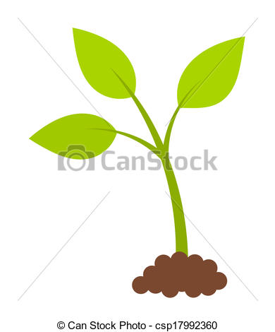 Clip Art Vector of Green young plant.