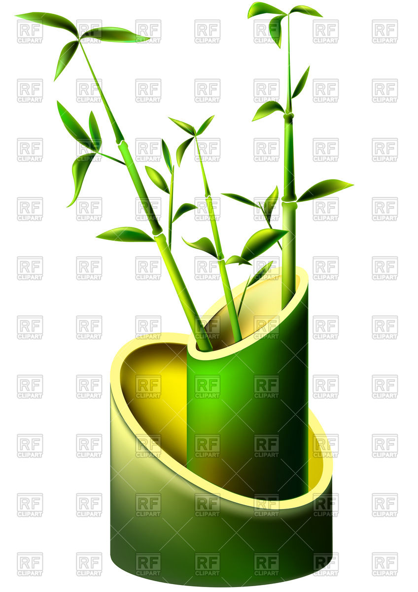 Vase from mature bamboo stems and young leaves Vector Image #76080.