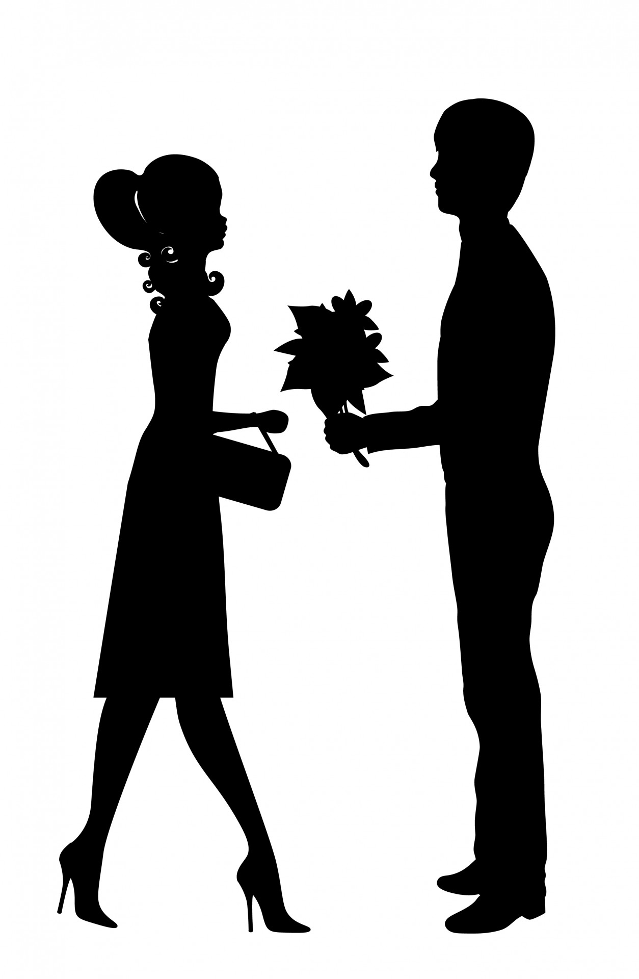 Romantic clipart of lovers.