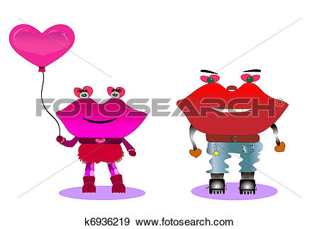 Clip Art of Couple of young lovers, vector k6936219.