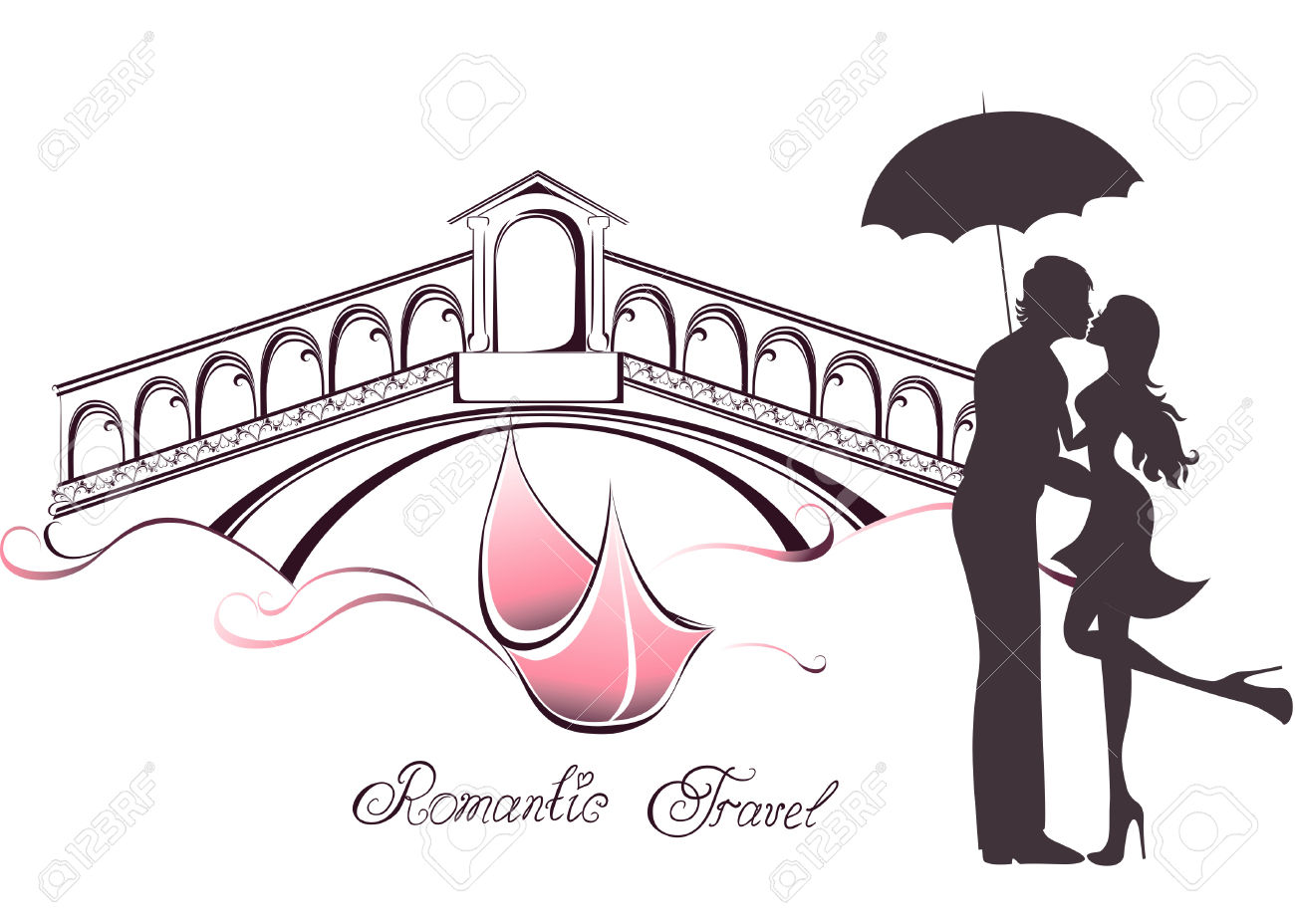 Honeymoon And Romantic Travel. Happy Young Lovers Couple Kissing.