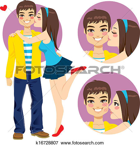 Clip Art of Couple Young Lovers Kiss k16728807.