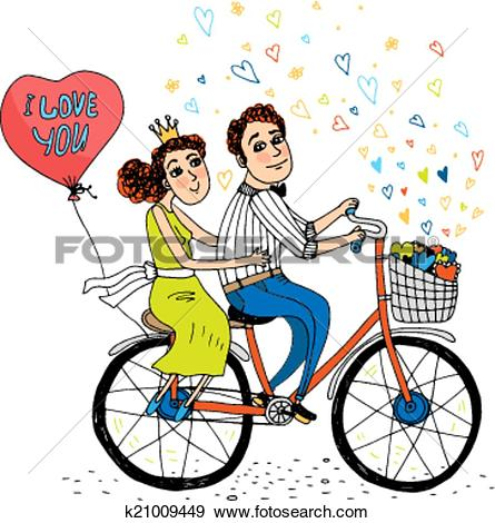 Clip Art of Two young lovers riding a tandem bicycle k21009449.