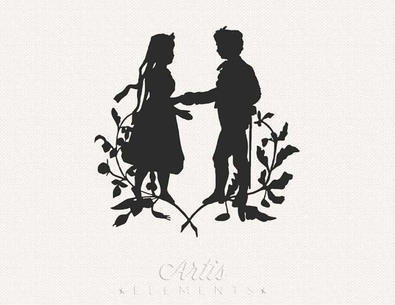 Lovers silhouette clip art.