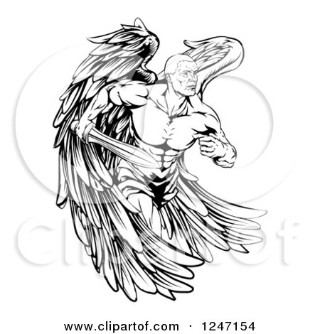 Clipart Picture of a Vintage Valentine Of A Female Guardian Angel.