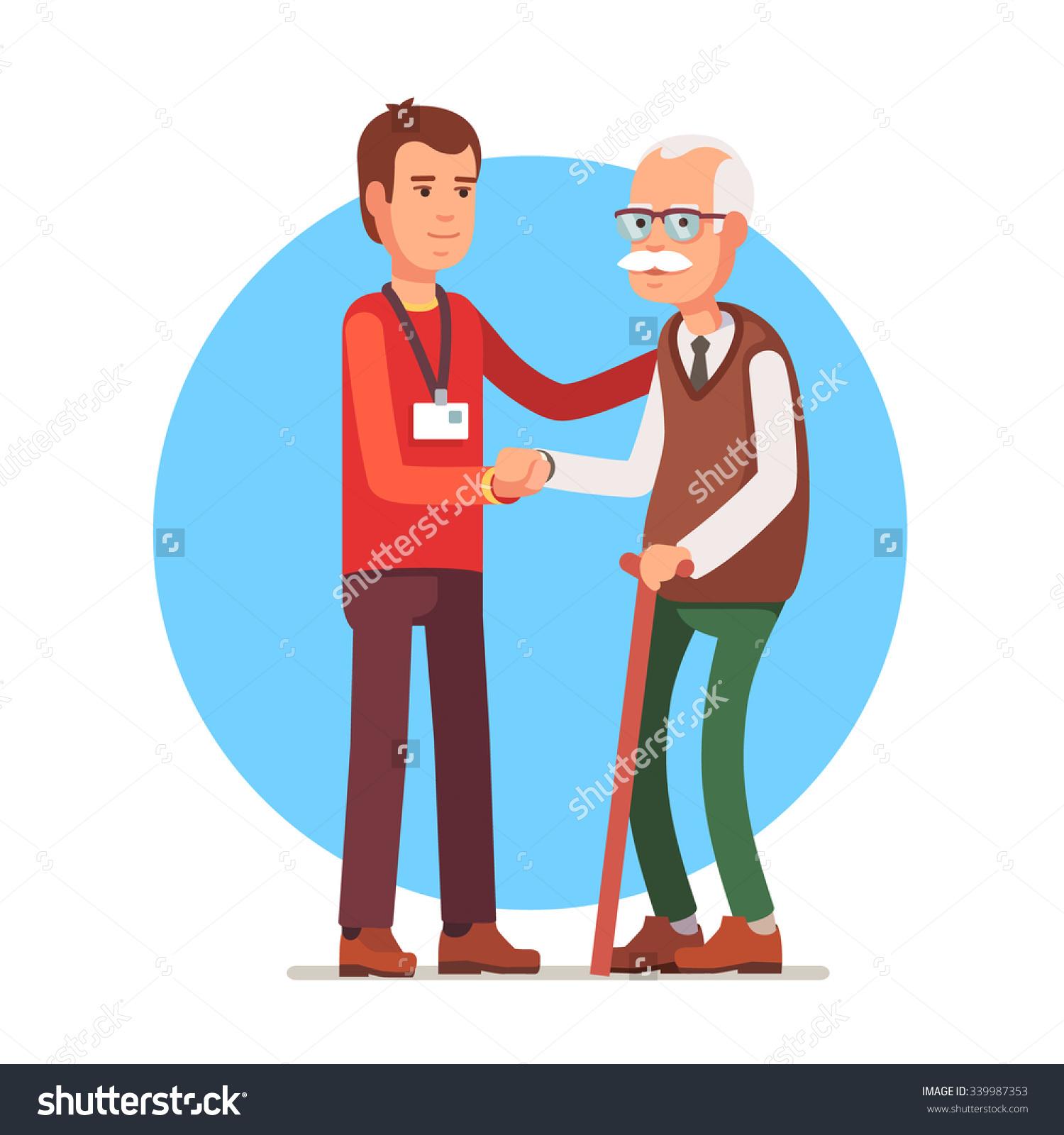 Young Man Social Worker Helping Elder Stock Vector 339987353.