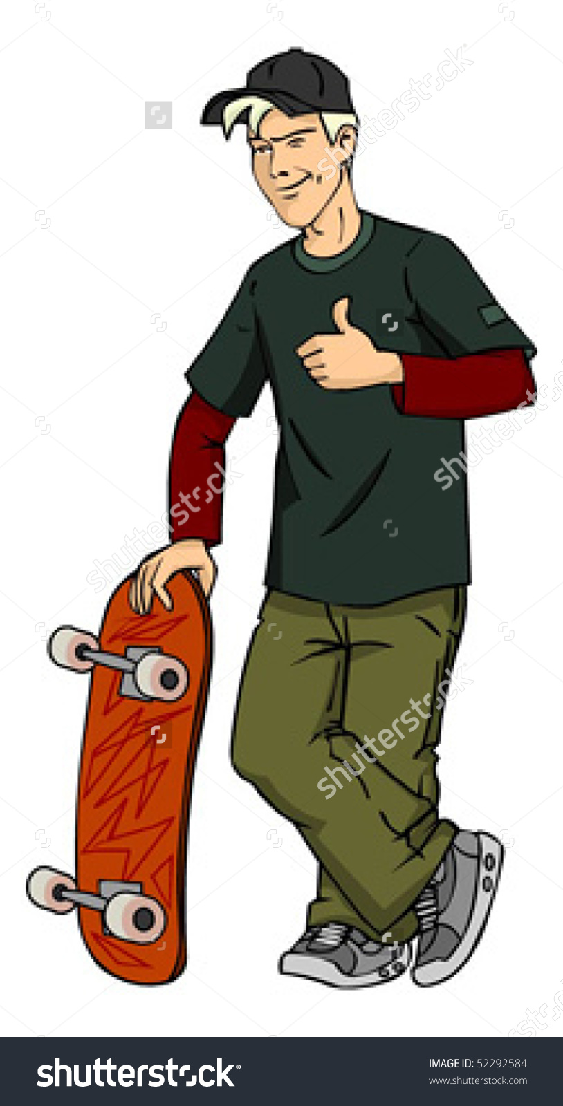 Young Man Standing Skateboard Winking Stock Vector 52292584.