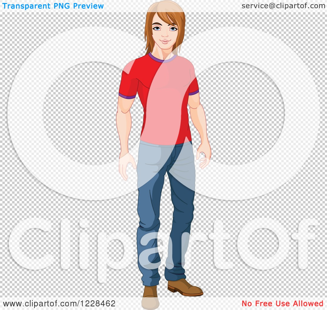 Clipart of a Casual Young Man Standing in a T Shirt and Jeans.