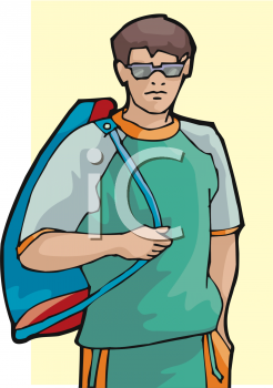 Clip Art Picture Of A Young Man Carrying A Backpack.