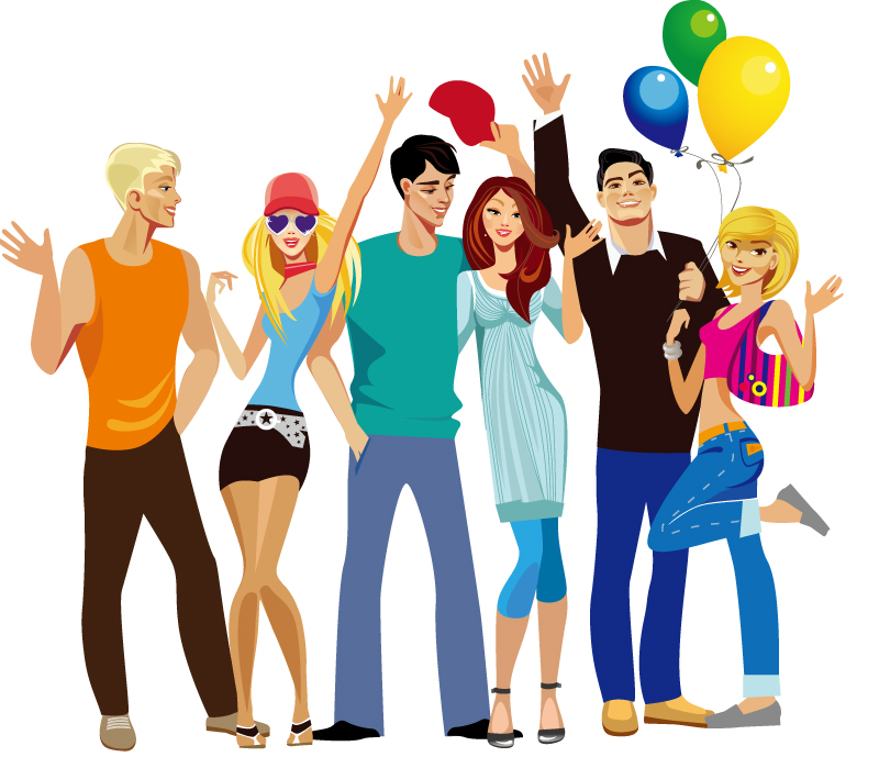 Clipart of young adults.