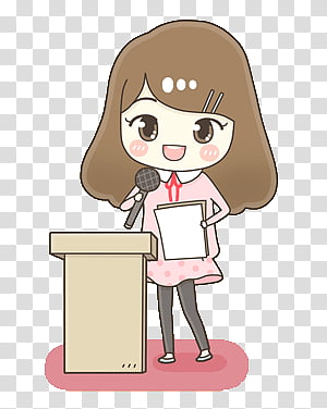 Kawaii People, girl speaking near podium illustration.