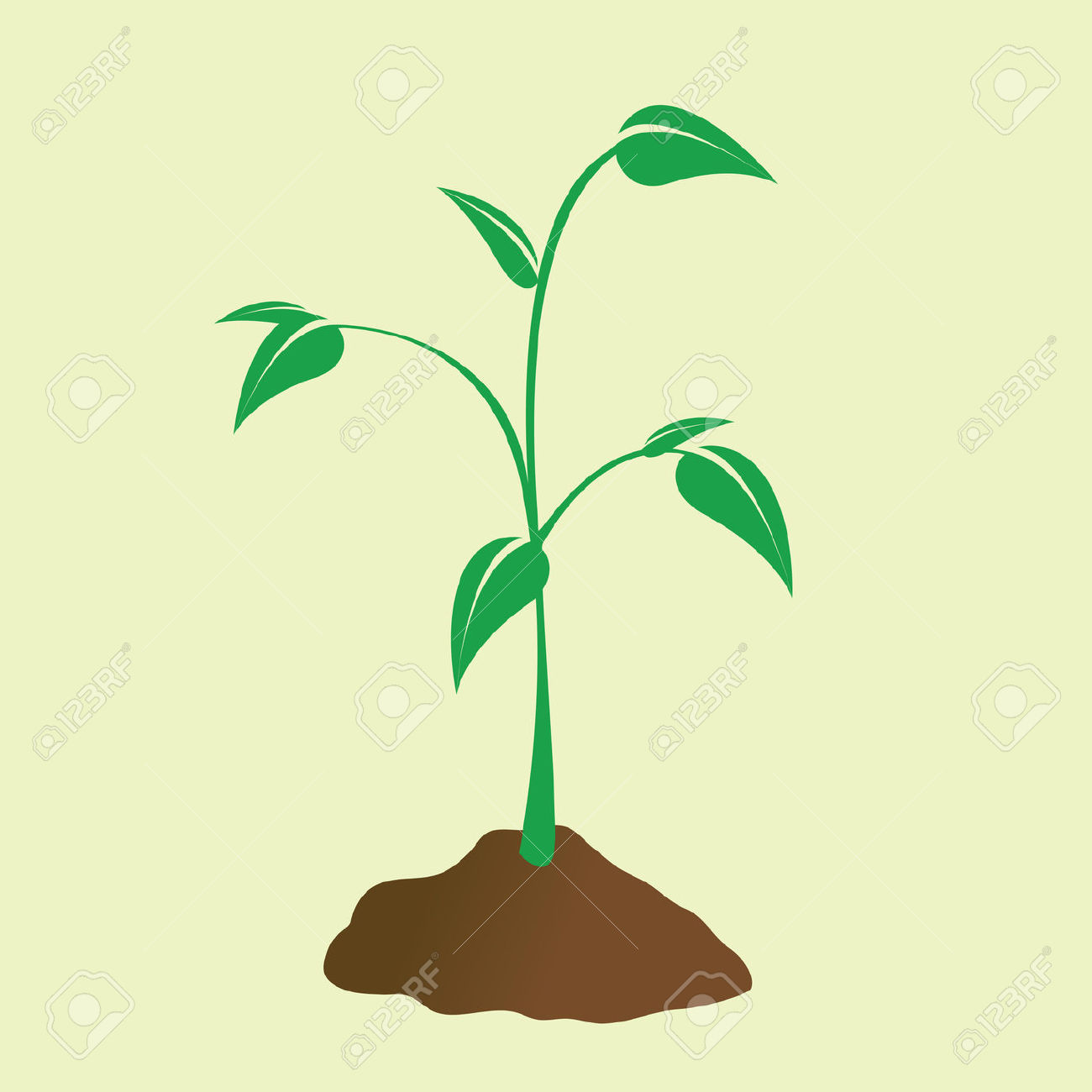 Young Plant Sprouting Forth From The Dirt. Royalty Free Cliparts.