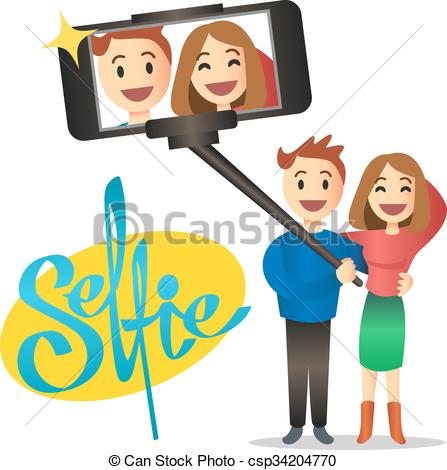 Vectors Illustration of Young couple making self portrait using.