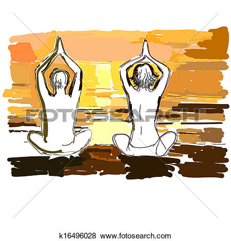 Clip Art of Silhouettes of young couple doing yoga, meditating in.
