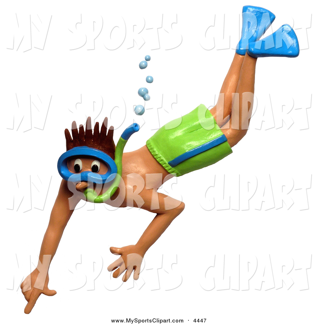 Sports Clip Art of a Young Man Pointing Towards Something While.