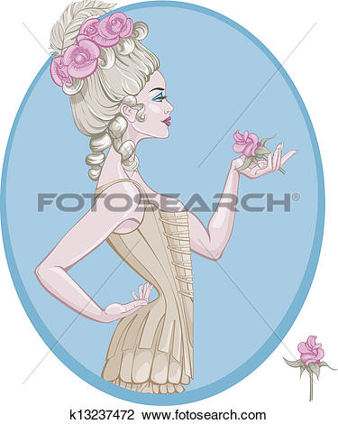Clipart of rococo style young woman k13237472.
