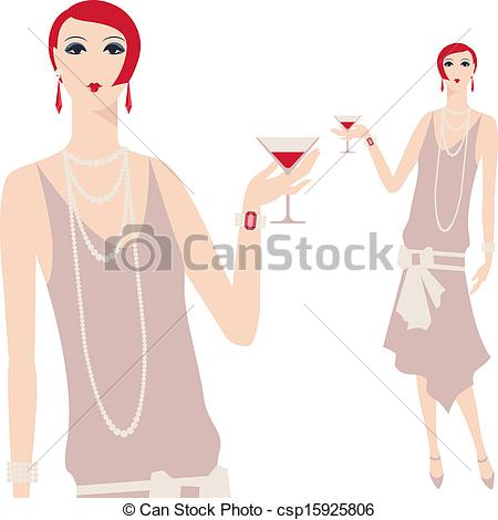 Vector Clipart of Retro young beautiful girl of 1920s style.
